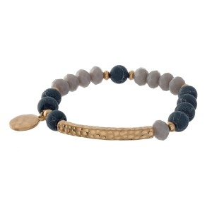 "Natural stone and faceted bead stretch bracelet with a bar focal and a circle charm stamped with ""Hope."""