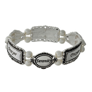 Pearl beaded stretch bracelet with silver tone shapes, stamped with The Serenity Prayer.
