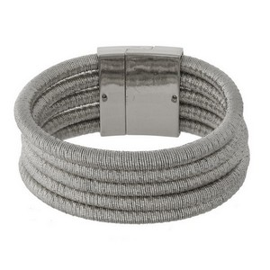 "Metallic thread wrapped magnetic bracelet. Approximately 1.5"" in width."