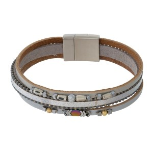 Genuine leather magnetic bracelet with hematite beaded accents.