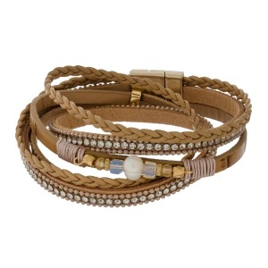 Tan, faux leather wrap bracelet with beaded accents and a magnetic closure.