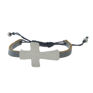 Faux leather bracelet with a hammered cross focal and a pull-tie closure.