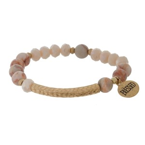 "Natural stone and faceted bead stretch bracelet with a circle charm, stamped with ""Blessed."""
