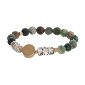 Natural stone bead stretch bracelet with gold tone accents and glass beads.