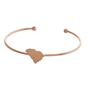 Dainty, metal cuff bracelet with a state focal.