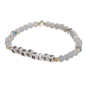 Stretch bracelet with encouraging message.