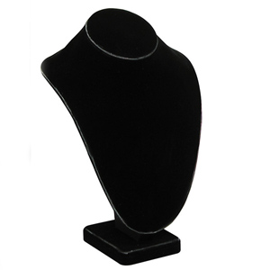 "Black velvet necklace display. Measures 7 1/2"" x 5 1/8"" x 11"" high."