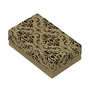 "Damask Gift Box with Cotton Batting Insert. (Approx. 3"" x 2.25"" x 1"")"
