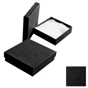 "Black Gift Box with Cotton Batting Insert. (Approx 3"" x 3"" x 1"")"
