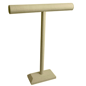 "Tall T-Bar in linen. Great for long necklaces and chains. 14"" wide by 18"" tall"
