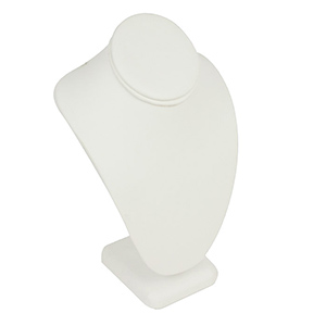 """White leatherette necklace bust measures: 6 3/8"""" x 4 1/2"""" x 10"""" high."""