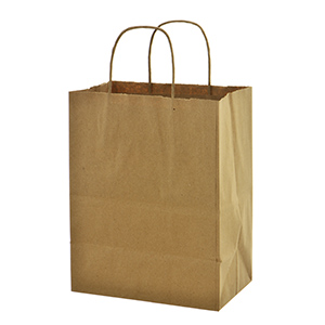 "Brown paper shopping bag. Approximately 8"" x 5"" x 10"""