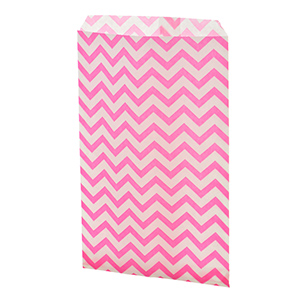 "100 count pink medium size chevron print gift bags. Approximately 9"" x 6"""