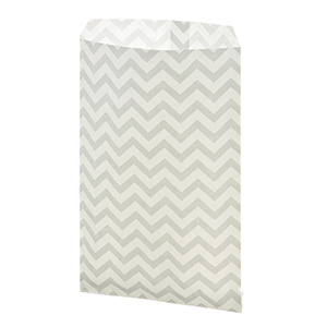 "100 count silver medium size chevron print gift bags. Approximately 9"" x 6"""