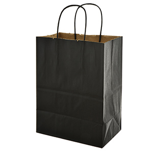 "Black paper shopping bag. Approximately 8"" x 5"" x 10"""