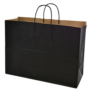 "Black paper shopping bag. Approximately 16"" x 6"" x 12"""