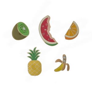 "Set of five pins in the shape of assorted fruits. All pins approximately 3/4"" in size."