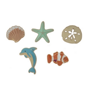 "Set of five sea life pins. All pins approximately 3/4"" in size."