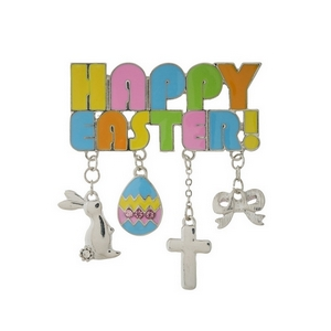 "Silver tone ""Happy Easter"" pin with Easter themed charms. Measures approximately 2"" x 2"" including charms."