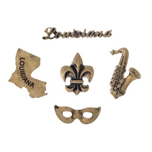 Gold tone pin set with a Louisiana theme.