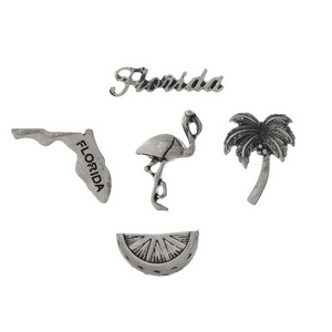 Silver tone pin set with a Florida theme.