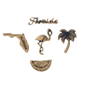 Gold tone pin set with a Florida theme.
