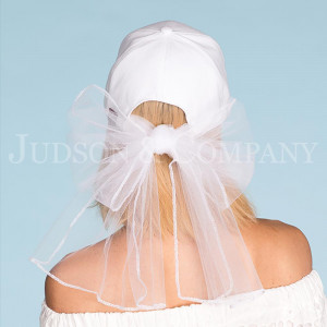 "Gold embroidered ""Bride"" white C.C baseball cap with attached back veil. One size fits most. 90% cotton, 10% polyester."