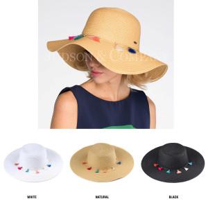 C.C brand ST-2019paper straw brim hat with a tassel band. 100% paper. UPF 50+