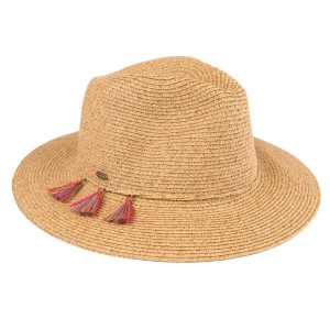 C.C brand ST-502 panama hat with tassel ornaments. 80% paper straw and 20% polyester.