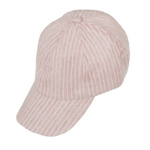 Pink and white striped hat with an adjustable back and a ponytail hole. 100% cotton.