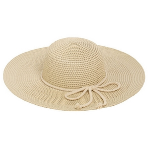 "Tan wide-brimmed hat with a bow accent. 70% paper and 30% polyester. Hat brim is approximately 17"" in diameter."