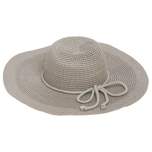 "Gray wide-brimmed hat with a bow accent. 70% paper and 30% polyester. Hat brim is approximately 17"" in diameter."