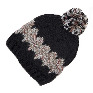 Black and gray knit beanie hat with a pom pom on the top. 100% acrylic.