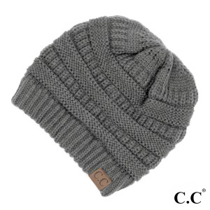"The original C.C beanie style in light melange gray. 100% acrylic. Measures 9.5"" in diameter and 8"" in length."