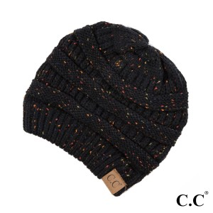 Cable knit, confetti print C.C beanie in black. 100% acrylic.