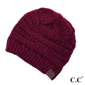 Cable knit, confetti print C.C beanie in burgundy. 100% acrylic.