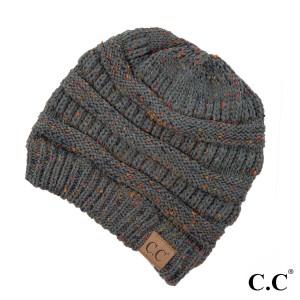 Cable knit, confetti print C.C beanie in dark melange gray. 100% acrylic.