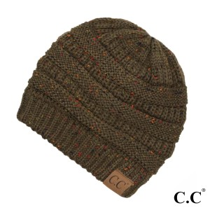 Cable knit, confetti print C.C beanie in new olive. 100% acrylic.