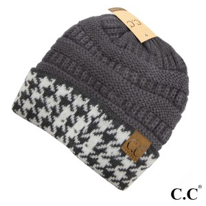 Knit, dark melange gray C.C beanie with a houndstooth cuff. 100% acrylic.