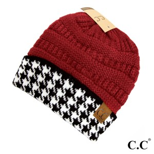 Knit, crimson C.C beanie with a houndstooth cuff. 100% acrylic.