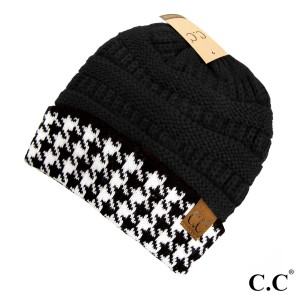 Knit, black C.C beanie with a houndstooth cuff. 100% acrylic.