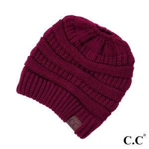 Messy bun, C.C beanie in burgundy. 100% acrylic.