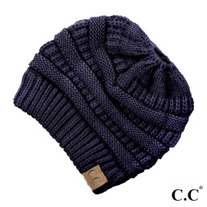 Messy-bun, C.C beanie in navy blue. 100% acrylic.