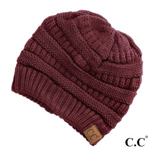 "The original C.C beanie style in maroon. 100% acrylic. Measures 9.5"" in diameter and 8"" in length."