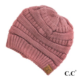 "The original C.C beanie style in Mauve. 100% acrylic. Measures 9.5"" in diameter and 8"" in length."