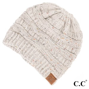 Cable knit, confetti print C.C beanie in ivory. 100% acrylic.
