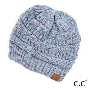 Cable knit, confetti print C.C beanie in denim. 100% acrylic.