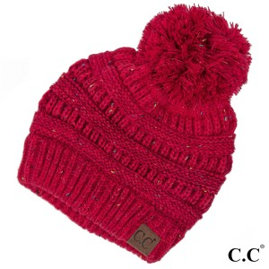 Cable knit, confetti print C.C beanie with pom pom, in red. 100% acrylic.