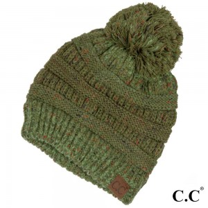 Cable knit, confetti print C.C beanie with pom pom, in sage. 100% acrylic.