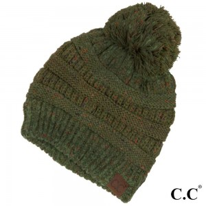 Cable knit, confetti print C.C beanie with pom pom, in olive. 100% acrylic.